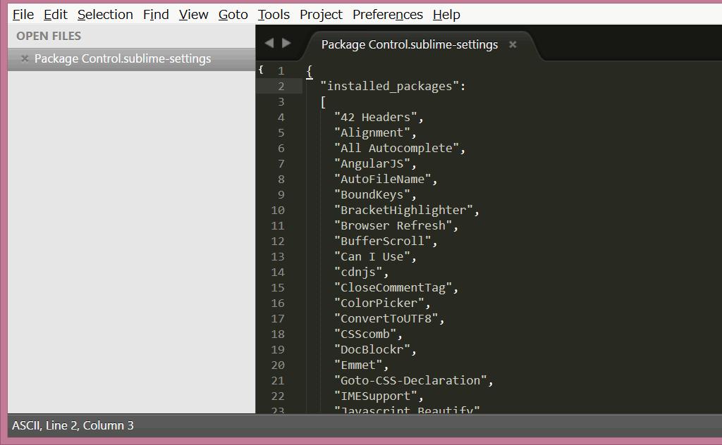 Sublime Textのインストールされているパッケージ一覧の表示方法