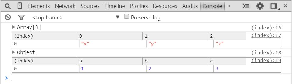 オブジェクトと配列のdebugに便利なconsole.tableの使用方法