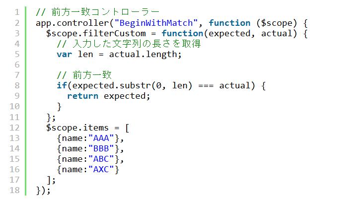 AngularJSのfilterで前方一致や後方一致を使用する方法