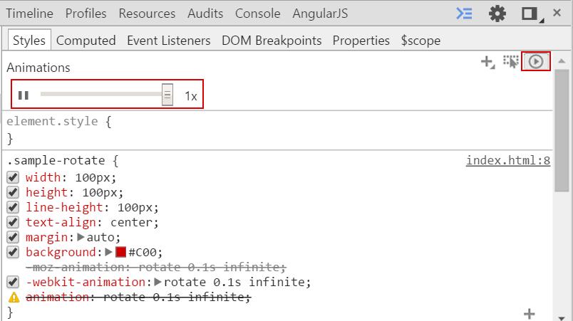 ElementsタブのStylesタブの右上にあるCSSアニメーションのボタンを押して倍率をバーをスライドして変更