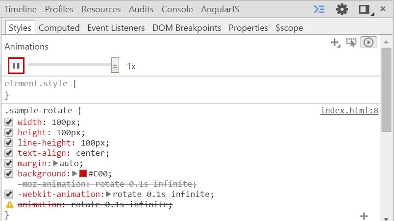 Chromeのデベロッパーツールはアニメーションの一時停止や0.1, 0.25, 0.5倍速の変更が簡単にできる。