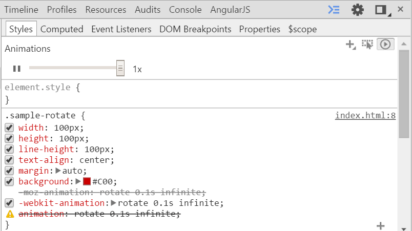 CSSアニメーションをChromeの開発ツールで0.5倍速以下で見る方法