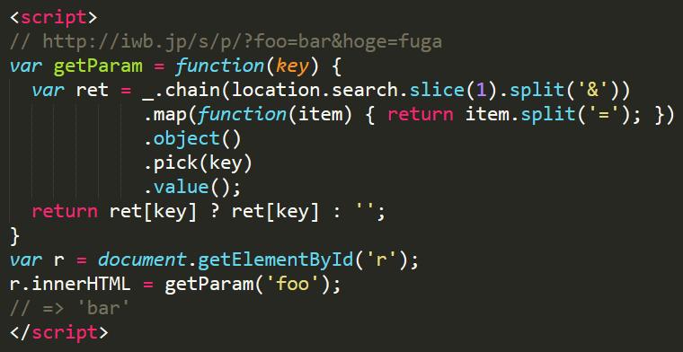 Underscore.js使用のURLクエリパラメーター値の取得方法
