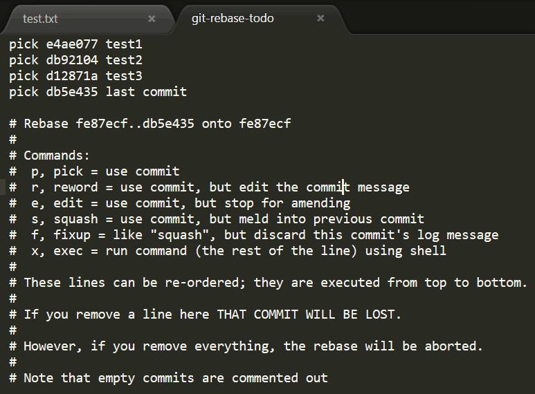 Gitの複数コミットをrebaseとsquashでまとめる方法