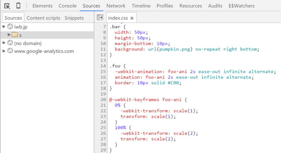 Sourceパネルに切り替えてCSSのコードを変更