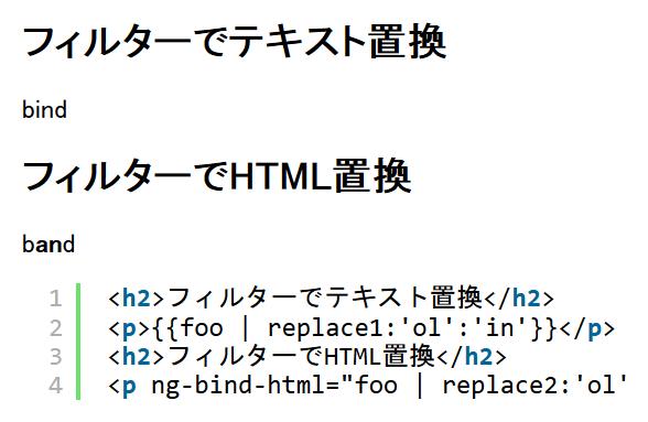 AngularJSのfilterでテキストやHTMLを置換するフィルター