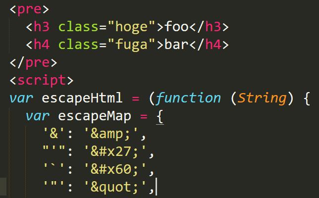 preタグ内にHTMLを入れてJavaScriptでエスケープすると便利