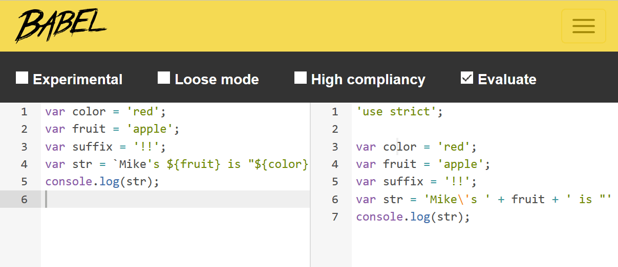 javascript-string-concat-use-babel