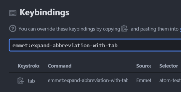 AtomでEmmetを使用するならショートカットキーをTab+Shiftに