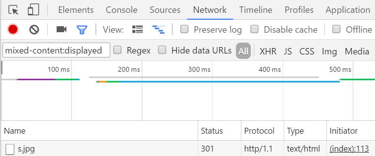 ChromeのデベロッパーツールのNetworkタブで「mixed-content:displayed」をフィルタに入力