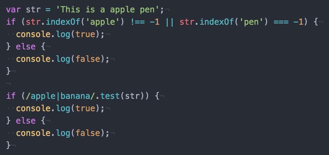 JavaScriptで文字列の有無を調べるにはindexOfではなくtestを使う