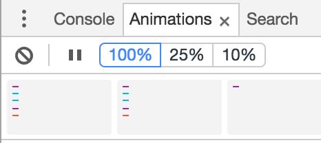 CSSアニメーションを止めるにはChromeデベロッパーツールのAnimationsの停止ボタンをクリック