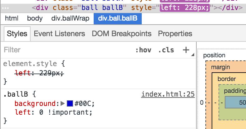 debuggerで停止後、left: 0 !importantを指定することで個別に停止