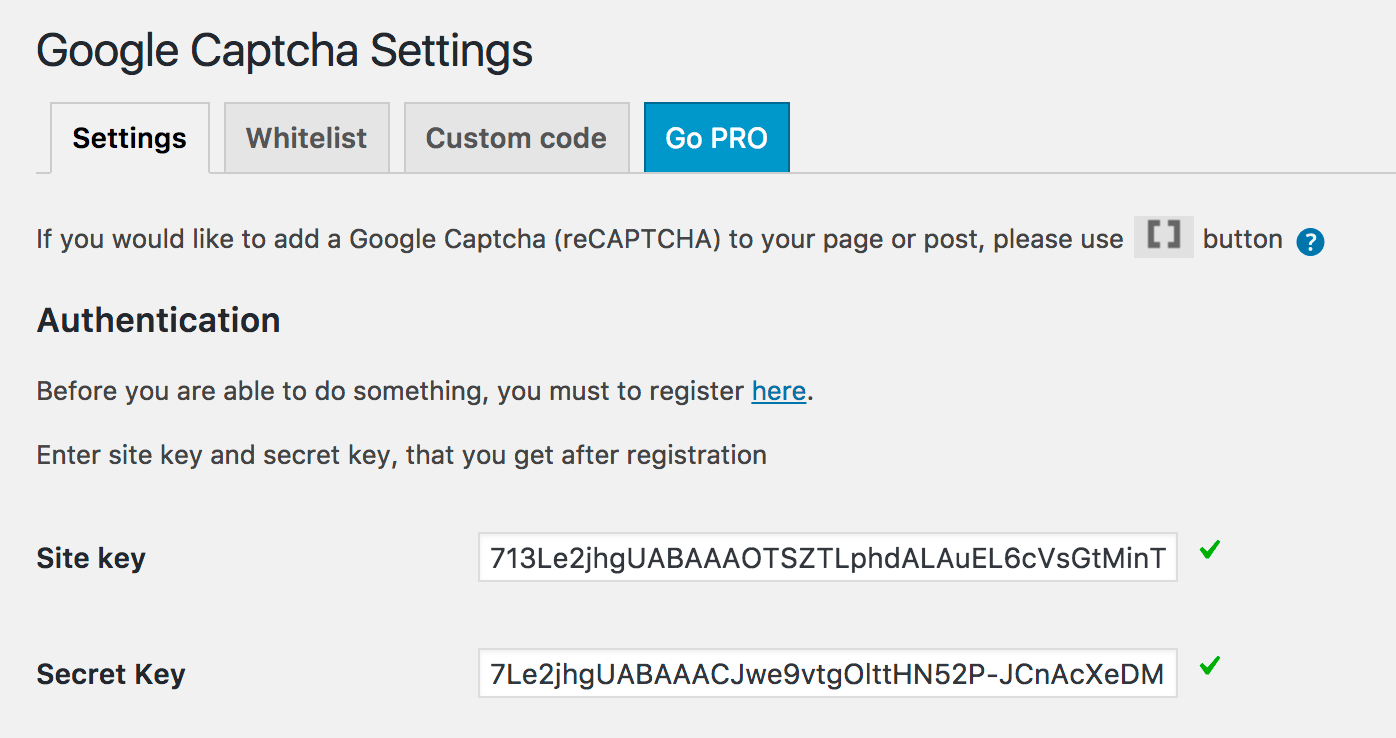 WordPress Google reCAPTCHA Settings