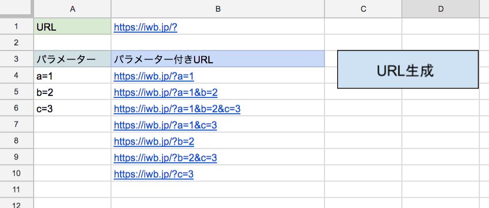 Googleスプレッドシートでパラメーター付きURL組み合わせ生成シートを作成