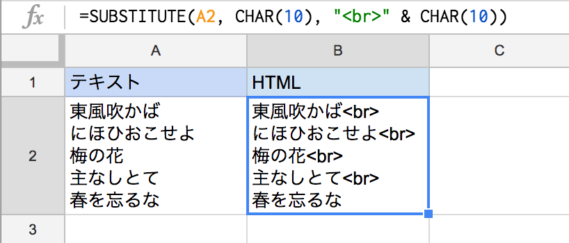 Excelシートのテキストの改行に関数でHTMLのbrタグを付ける方法