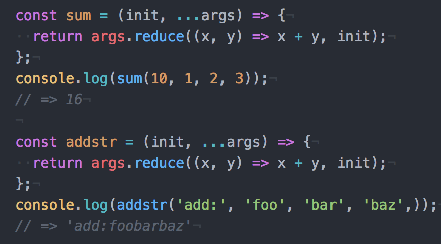 JavaScriptのreduceを使用した初期値付きのsum関数の作成方法