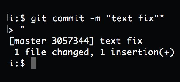 Macターミナルでgit commit時に大なり山括弧>表示の理由と対処法