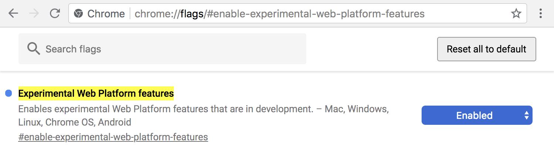自動顔モザイク追加というWebサービスを使用するにはChromeのExperimental Web Platform featuresをEnabled(有効)にする必要がある。
