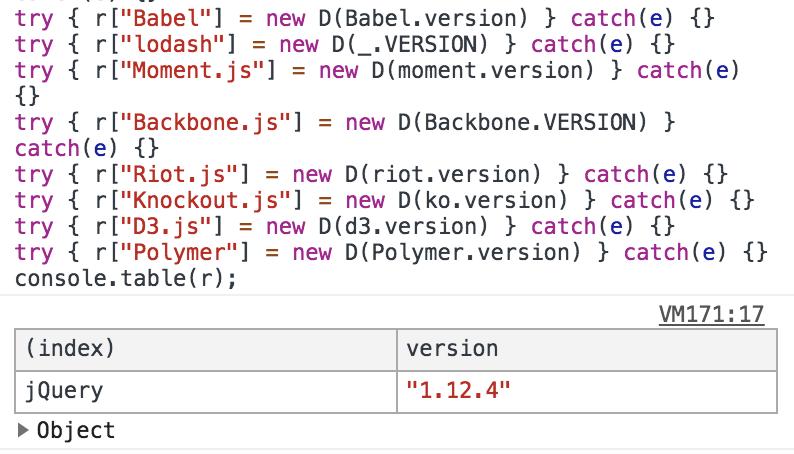 JavaScriptライブラリのバージョンをブラウザのConsoleで確認する方法