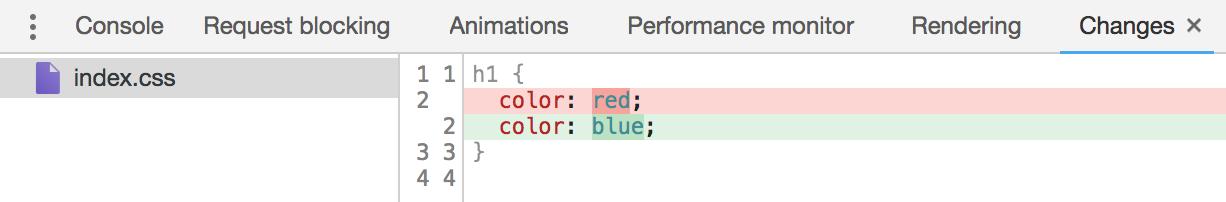 Overridesの変更した箇所の差分はChangesタブから確認可能