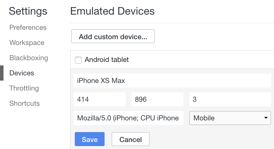 Chrome Emulated DevicesにiPhone XS Max, Google Pixel 3 追加方法