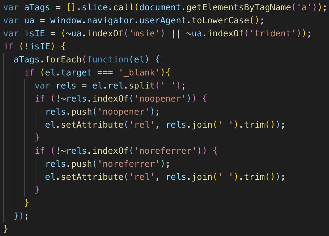 "target=""_blank""時にrel=""noopener noreferrer""をJavaScriptで付与"