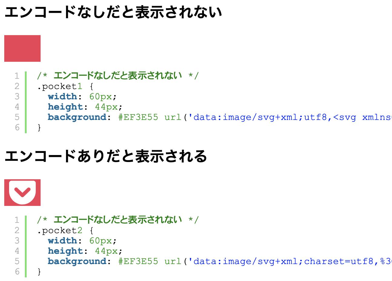 CSSでSVGを読み込む際はタグをエンコードしないと表示されない