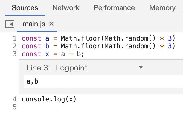 Chrome 73 Logpoints追加時の注意点1
