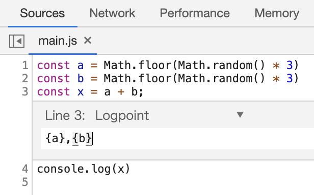 Chrome 73のLogpointsは変数を追加するときは{a}のように{}で囲むことが推奨されている