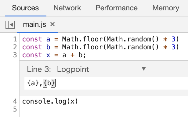 Chrome 73のLogpointsでJavaScriptのコード内のconsole.logが激減