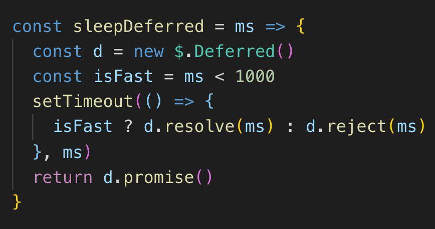 jQuery $.Deferred, resolve, reject, promiseは11行のコードで暗記