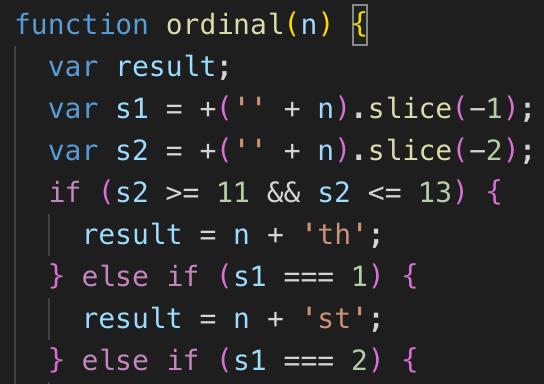 JavaScriptで英語の序数(st, nd, rd, th)を付ける関数の作成方法