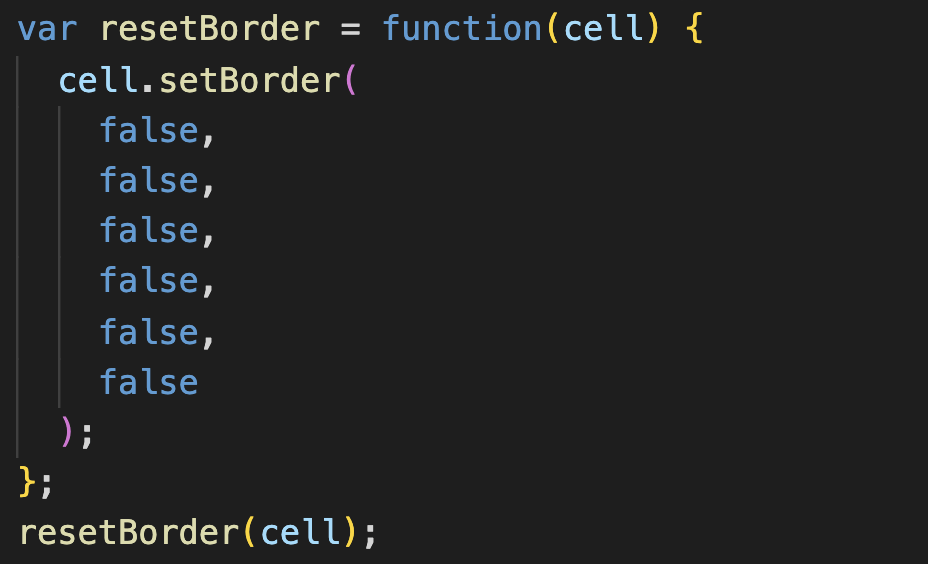 Google Apps ScriptのsetBorderで枠線をリセットする方法