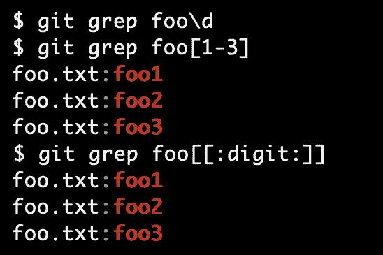 git grep -E で正規表現検索しても\dなどでは検索不可