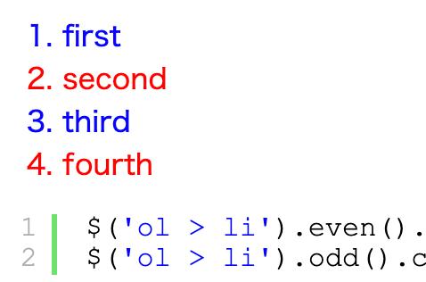 jQueryの3.5.0以降はeven()やodd()メソッドが使えるので注意が必要