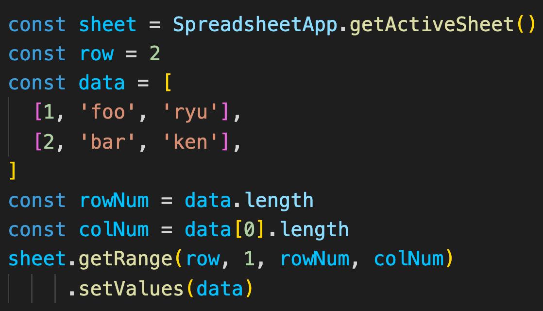 Google Apps Scriptで複数の値はforではなくsetValuesを使う