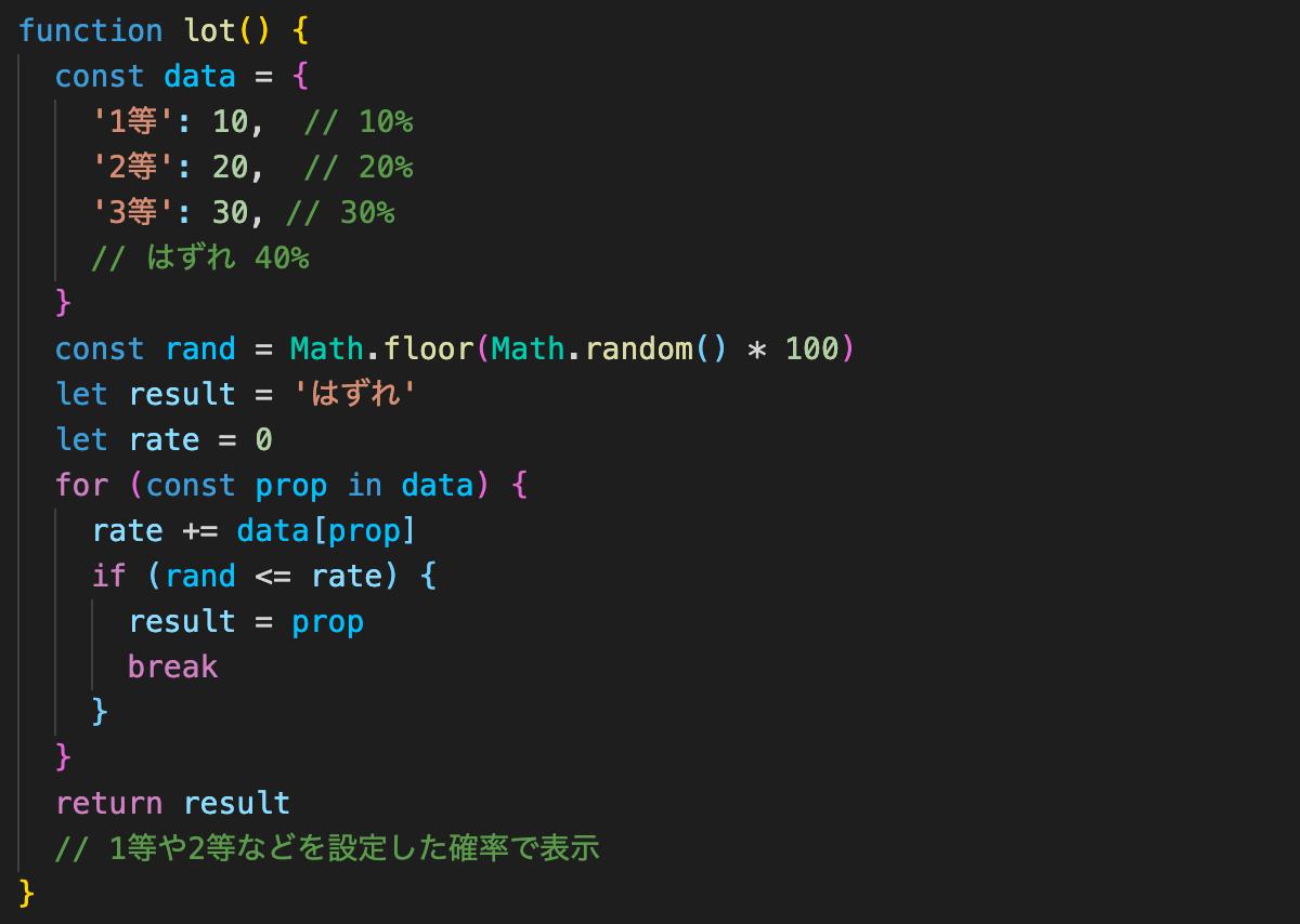 JavaScriptでくじ引きプログラムを確率設定付きで正しく作る方法