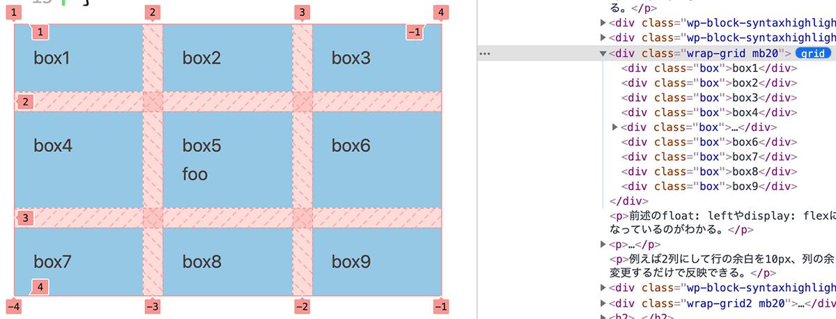 Chromeのデベロッパーツールでdisplay: gridを確認