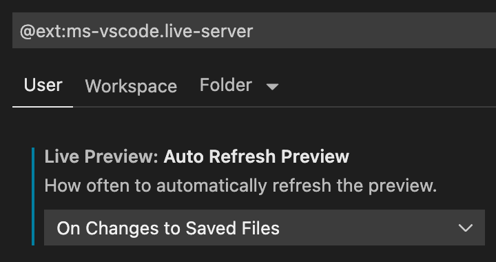 Auto Refresh PreviewをOn Changes to Saved Filesに変更