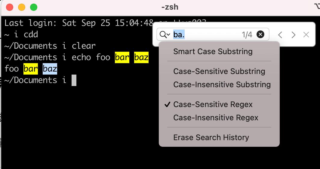iTerm2は正規表現で検索ができる