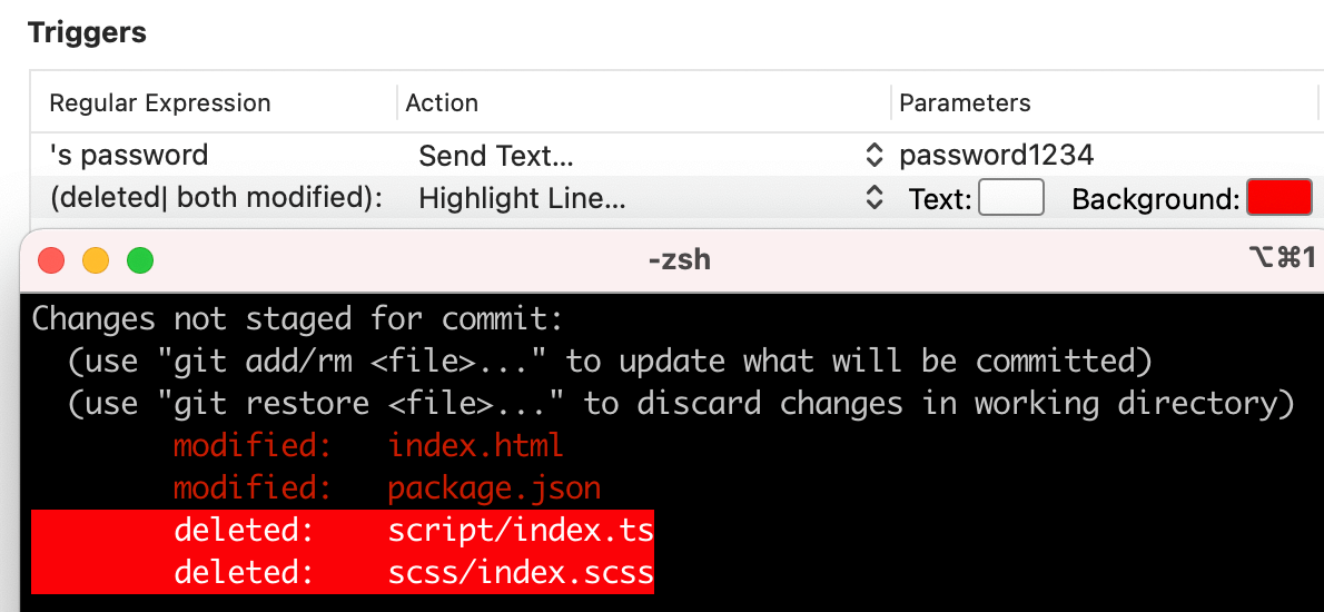 iTerm2 Triggers Action Highlight Line